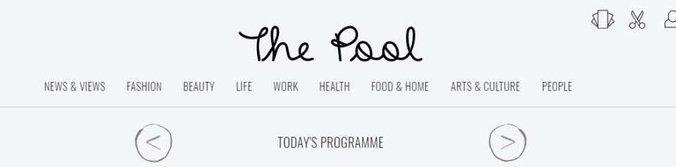 Example of women's Lifestyle media called The Pool