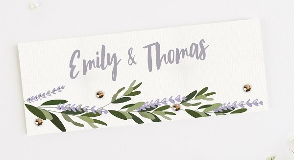 a botanical themed placecard from wedding stationers norma&dorothy