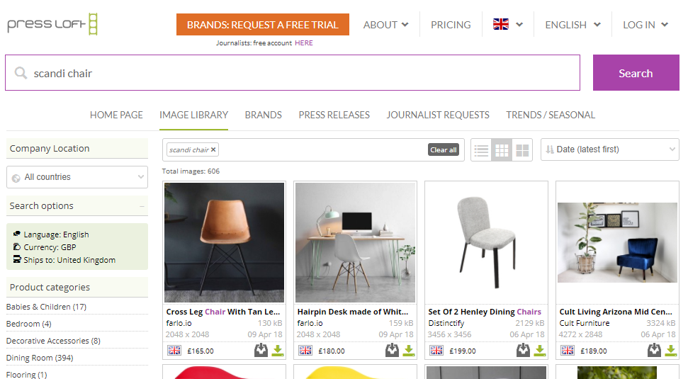 Shows search results for 'scandi chair' on homes and interiors PR platform Press Loft