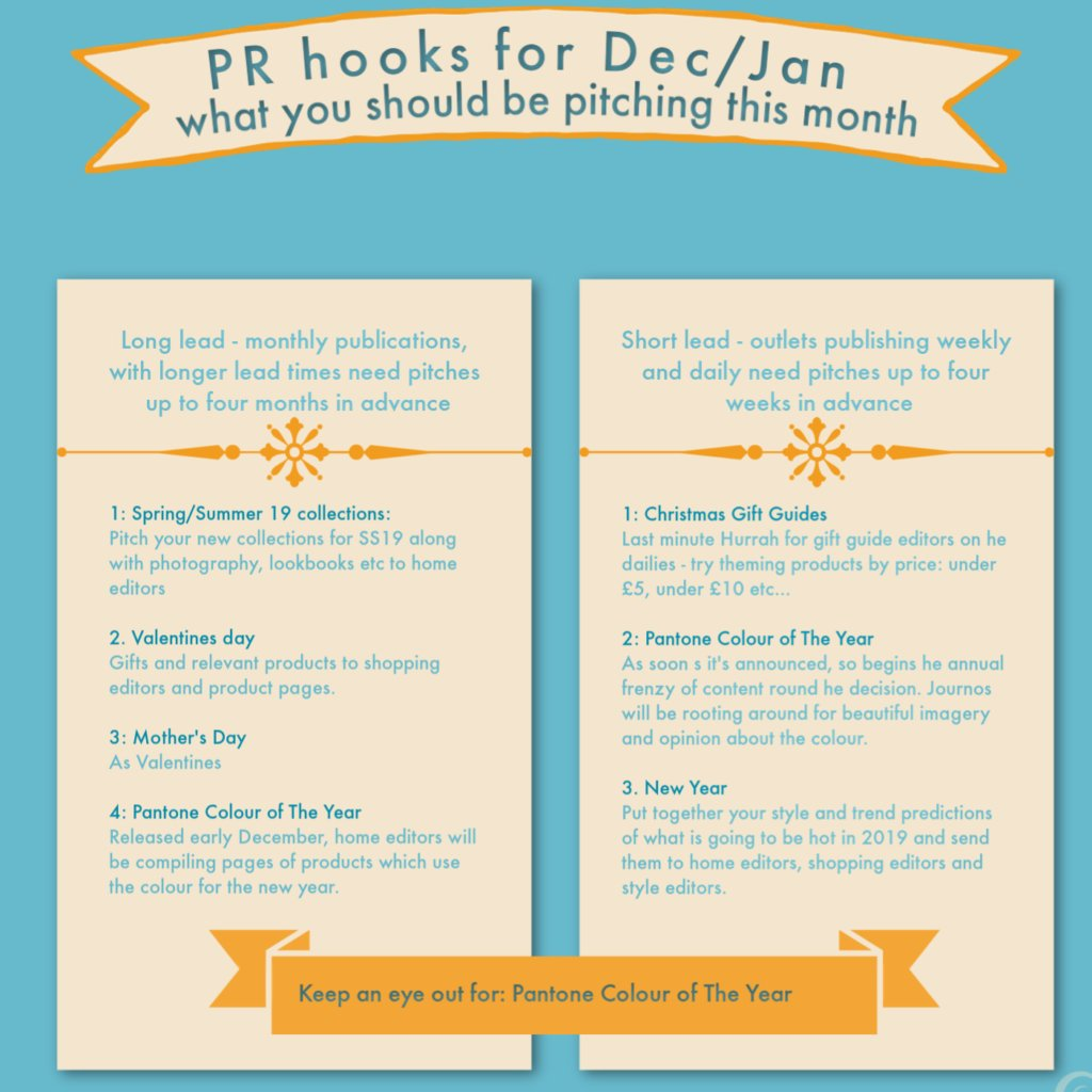 a guide to pitching PR campaigns into the media over the next month