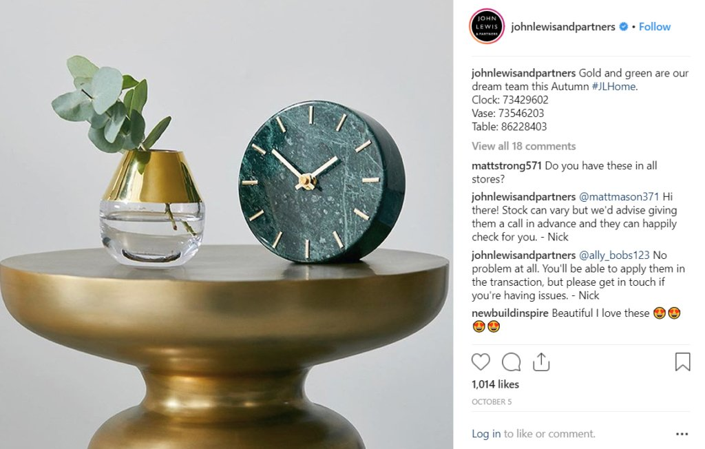 Example instagram post from John Lewis who put a lot of thought into their posts