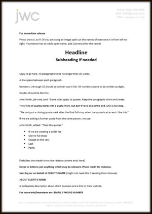 An example press release template