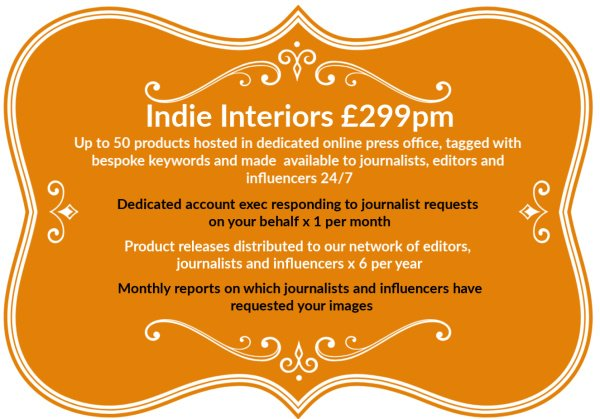 PR service offering for small interiors homes and gifts businesses