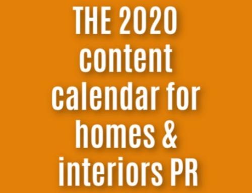 Homes & Interiors PR calendar – Interiors PR Hooks for 2020